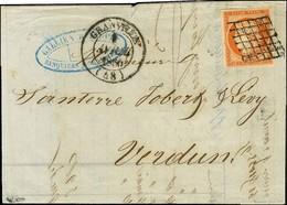 Grille / N° 5 Belles Marges Càd T 14 GRANVILLE (48) Sur Lettre 2 Ports Pour Verdun. 1850. - TB / SUP. - R. - 1849-1850 Ceres