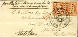 Rouleau De Gros Points / N° 5 Paire, Belles Marges Càd PARIS (60) Sur Lettre Pour New York, Au Recto Mention Manuscrite  - 1849-1850 Ceres