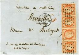 Rouleau De Points / N° 5 Bande De 4 Belles Marges Càd PARIS (60) Sur Lettre En Quadruple Port Pour La Belgique. 1853. -  - 1849-1850 Ceres