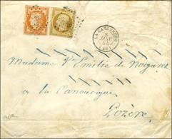 PC 602 / N° 4 + 9 Càd T 15 LA CANOURGUE (46) Sur Lettre 2 Ports. 1854. - TB. - R. - 1849-1850 Ceres