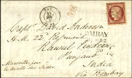 PC 2388 / N° 6 Filet Effleuré Angle Supérieur Droit Càd T 15 PAU (64) Sur Lettre Pour L'Inde, Au Recto Griffe De Passage - 1849-1850 Ceres