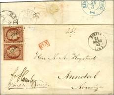 PC 1096 / N° 6 (2, 1ex Infime Def) Càd T 15 DIEPPE (74) Sur Lettre Pour La Norvège, Au Verso Cachet De Transit Hambourg  - 1849-1850 Ceres