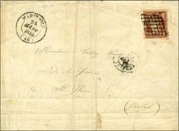 Grille / N° 6 Nuance Rouge-brun Càd T 14 MARVEJOLS (46) 24 MARS 1849 Sur Lettre 3 Ports Pour St Flour. - TB. - R. - 1849-1850 Ceres
