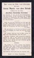 Anna Maria Van Den Brink, Overleden Amsterdam 1916, Geh Korsten - Devotion Images