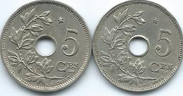 Belgium - Albert I - 5 Centimes - 1932 - French (KM93) & 1930 - Dutch (KM94) - 1909-1934: Albert I