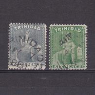 TRINIDAD 1866, SG #76-77, Wmk Crown CC, Perf 14, Britannia, Used - Trinidad & Tobago (...-1961)