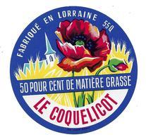 ETIQUETTE De FROMAGE..fabriqué En LORRAINE ( Meuse 55-Q)..Le Coquelicot - Fromage