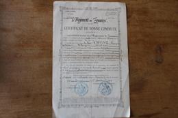 4 Eme Zouave  Tunis 1892  Certificat De Bonne Conduite  Calligraphie - Documentos
