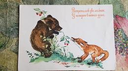 Fox Cub  And Bear Cub - By Lindberg - Old PC - 1959 - Bears