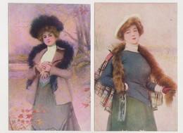 2Cartes Fantaisies Dessinées / Femme Avec Chapeau Et étole ( En Automne Et En Hiver) - Künstlerkarten