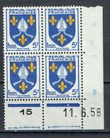 1005 Blason Saintonge 5 F. Bleu Coin Daté Du 11-6-1958 Luxe - Unused Stamps