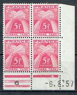Taxe Gerbe 75 France 5 F. Rose Coin Daté Du 6-8-1957 - Unused Stamps