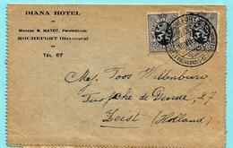 N°282 (2) Op Briefkaart DIANA HOTEL, Toerist. Afst. ROCHEFORT 10/07/191 Naar Zeist (Nederland) - 1929-1937 Heraldic Lion