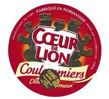 ETIQUETTE De FROMAGE..COULOMMIERS Fabriqué En NORMANDIE..Coeur De Lion..Fromagerie De VIRE (14)..Flashez .. - Fromage