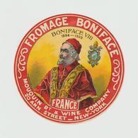 Etiquette Fromage: JPM :   Camembert  : Boniface 8 Mouquin  Wine Company , New York  ( 14 Par 14 Cm ) - Fromage