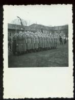 WW II  Foto 8,5 X 6 Cm: Arbeitsmaiden , BDM , Angetreten , Hakenkreuzfahnen. - Duitsland