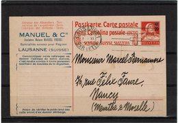 BR41 - SUISSE EP CP TSC MANUEL G.TELL SURCHARGE DEPART LAUSANNE 7/11/1927 - Entiers Postaux