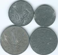 Bohemia & Moravia - 1941 - 10 Haléru; 1943 - 20 Haléru; 1941 - 50 Haléru (1941) & 1 Koruna (1941) KMs 1-4 - Zinc - [ 4] 1933-1945 : Tercer Reich