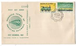 1961 PAKISTAN RAILWAY 100 YEARS OF PAKISTAN RAILWAY CENTENARY FDC TRAIN ENGINE - Pakistan