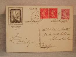 ENTIER POSTAL FRANCE SEMEUSE ROSE 20C + 2 X 5C SEMEUSE ROUGE - EXP PHILAT PARIS 1937 BELLE OBLIT Hexagonales - Entiers Postaux