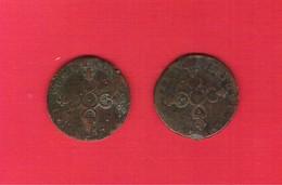 Monnaies Royales Françaises Lot 2 Pièces Louis XIV Six Deniers Dardenne - 1643-1715 Louis XIV Le Grand