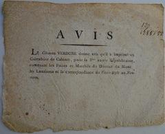 (36) Le Blanc (Indre), Avis De L'imprimeur Verdure, Calendrier,1794 - Documentos Históricos