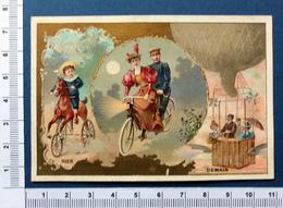 CHROMOS DORÉE......CHICORÉE LERVILLES....HIER / AUJOURD'HUI /DEMAIN...TRICYCLE / BICYCLETTE / MONTGOLFIÈRE - Trade Cards