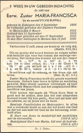 Bidprentje Eerw. Zuster Maria-Francisca - Zedelgem - Religion & Esotérisme