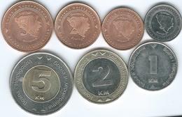 Bosnia Herzegovina - 5 (2005) 10 (1998) 20 (1998) & 50 Feninga (1998) 1 (2006) 2 (2008) & 5 Marka (2009) (KMs 116-121) - Bosnië En Herzegovina
