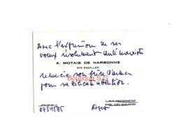 Carte De Visite A Motais De Narbonne Ets Sadillek Ivry Sur Seine - Visiting Cards