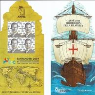 2019-ED. 53¿¿CP Carné Y Carterilla Sello Troquelado De Promoción De La Filatelia - Exfilna Santander 2019. 500 Aniv. 1ª - 1931-Oggi: 2. Rep. - ... Juan Carlos I