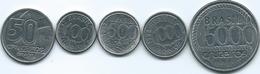 Brazil - 50 (1991 - KM620.2); 100 (1992 - KM623) 500 (1992 - KM624) 1000 (1992 - KM626) & 5000 Cruzeiros (1992 - KM625) - Brazil