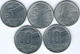 Brazil - Cruzeiro - 1 (1990 - KM617) 5 (1990 - KM618.1 & 1992 - KM618.2); 10 Centavos (1991 - KM619.1 & 1992 - KM619.2) - Brasile