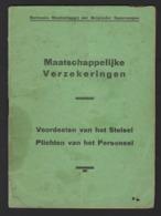 """BOEKJE """" MAATSCHAPPELIJKE VERZEKERINGEN """" * NATIONALE MAATSCHAPPIJ DER BELGISCHE SPOORWEGEN * 1931 * 31 PP * 20 X 14.5 - Chemin De Fer"""