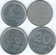 Brazil - Cruzeiro Novo - 10 Cruzeiros - 1983 (KM592.1) & 1985 (KM592.2); 20 Cruzeiros - 1984 (KM593.1) 1985 (KM593.2) - Brasile
