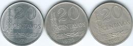 Brazil - Cruzeiro Novo - 20 Centavos - 1967 (KM579.1) 1970 (KM579.2) & 1976 (KM579.1a) - Brasile