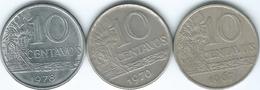 Brazil - Cruzeiro Novo - 10 Centavos - 1967 (KM578.1) 1970 (KM578.2) & 1975 (KM578.1a) - Brasile