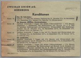 Nürnberg - Infoblatt 1963 Händler Konditionen Nachlass Rabatt Zweirad Union AG DKW Victoria Express - Advertising
