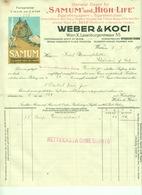 """Österreich Wien 1929 Farbige Rechnung Besonders Deko """" SAMUM & HIGHLIFE Zigarettenpapier & Hülsen"""" - Austria"""