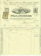 """Österreich Wien + Warnsdorf CSR 1928 Rechnung Deko + Stempelmarke Fiskalmarke """" PILZ Textil """" - Autriche"""