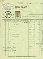 """Österreich Wien 1929 Rechnung Deko + Stempelmarke Fiskalmarke """" KRAUSS&FRIEB Bürsten Pinsel Besen TradeMark Zwerge """" - Autriche"""