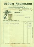 """Österreich Wien 1929 Rechnung Deko + Stempelmarke Fiskalmarke """" Brüder HAUSMANN Technische Großhandlung Treibriemen """" - Austria"""