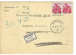SUISSE 1939:  CP Contre-remboursement  De Männedorf  Pour Zürich Avec étiquette ''Impayé'' Et 2x Le ZNr. 215y    B à TB - Switzerland