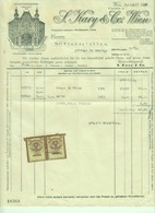 """Österreich Wien 1928 Rechnung Deko + 2x Stempelmarke Fiskalmarke """" S.KARY & Co Seidenweberei Seide """" - Austria"""