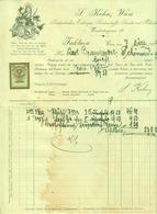 """Österreich Wien 1929 Rechnung Deko + Stempelmarke Fiskalmarke """" S.Kohn Seide Seidentücher Seidenstoffe Samt Velvet """" - Austria"""