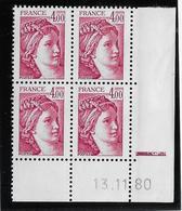 France N°2122 - Sabine De Gandon - Bloc De 4 Coin Daté - Neuf ** Sans Charnière - TB - 1977-81 Sabine De Gandon