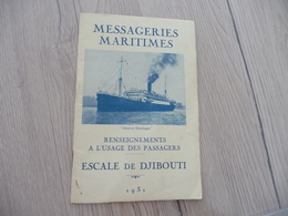 Guide Touristique Messagerie Maritimes Plan Texte Photos Escale De Djibouti 1931 Général Metzinger - Bateaux