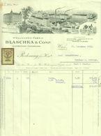 """Österreich Wien + Liebenau CSR 1928 Rechnung Besonders Deko + Stempelmarke Fiskalmarke """" BLASCHKA&Co Wollwaren """" - Autriche"""