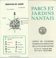 DEPLIANT TOURISTIQUE PARCS ET JARDINS NANTAIS NANTES LOIRE ATLANTIQUE - Tourism Brochures