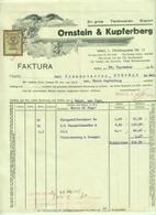 """Österreich Wien 1928 Rechnung Deko + Stempelmarke Fiskalmarke """" ORNSTEIN & KUPFERBERG Textil """" - Autriche"""